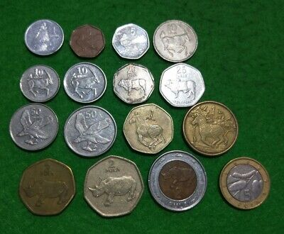 Botswana 16 different coins : Thebe & Pula incl 2 Zebra & 3 Rhino types