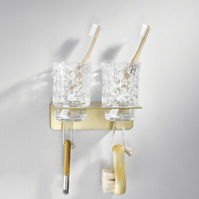 Brass Bath Toothbrush Holder Brushed Gold Rack Double Tooth Brushing Cup Glass