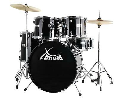 """Full 22"""" Drum Set Drum Kit Incl. Drum Throne Cymbals Stool Sticks Dvd Lessons Bl"""