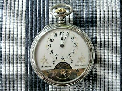 HEBDOMAS 8days Antique Open Face Pocket Watch Handengraved Beautiful Swiss