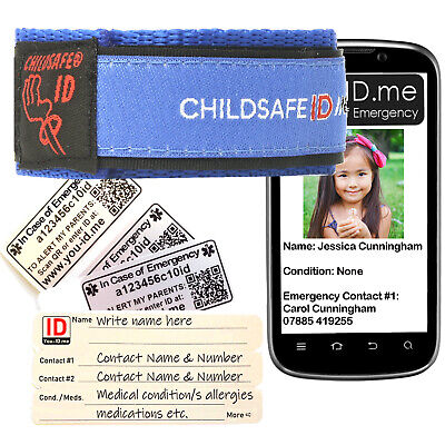 ChildSafe ID Wristband Bracelet Kid Identity Band Children Holiday Medical Phone