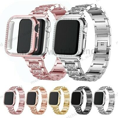 Apple Watch Series 5 4 3 2 Bling Stainless Steel Band Case Cover iWatch 40/38mm