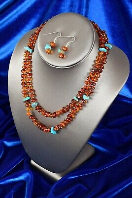Vtg Gorgeous Genuine Natural Baltic Amber and Turquoise Necklace & Earrings Set