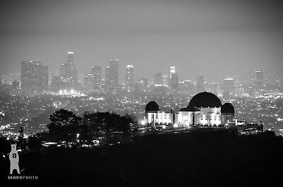 Los Angeles Skyline LA Photography Griffith Observatory Black & White Cityscapes