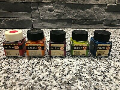 5 x Talens Ecoline Ink Bottle - Vintage Collectable Joblot Collection Mixed Rare