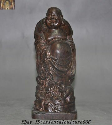 "5"" Old Chinese Buddhism Rosewood Wood Carved 5 Boy Kids Maitreya Buddha Statue"
