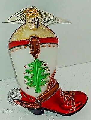 Old World CHristmas Cowboy Boot Western Blown Glass Christmas Ornament NWT