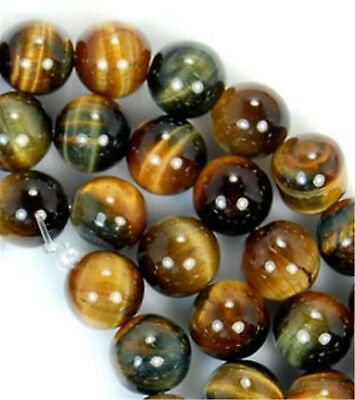 """Natural AAA+ 8mm Yellow Blue Tigers Eye Gemstone Round Loose Beads 15"""""""