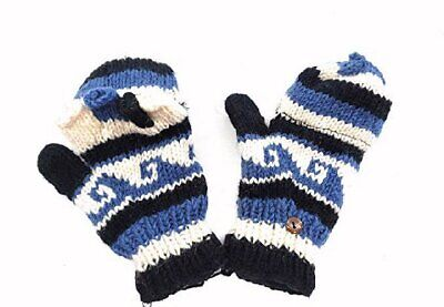 Hand Knit Fingerless Wool Texting Mittens Fleece Lined Made in Nepal (Blue)
