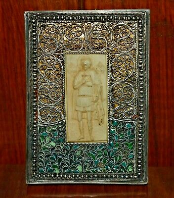 Rare Antique Orthodox Icon Russian Imperial Vintage Awesome Enamel Silver 84 old