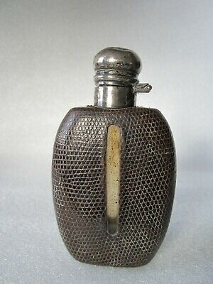 Original Antique Early 20th Century Sterling Silver, Leather & Glass Hip Flask