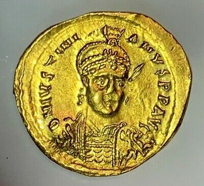 Ancient Byzantine Gold Coin Justinian I. 527-538 A.d.  Scarce Coin! Good Detail!
