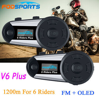2x 1200M V6 Plus Motorrad Sprechanlage Helm Intercom OLED Bluetooth Headsets FM