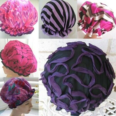 Designer Hand made Shower cap,WATER PROOF SELECT FROM 6  purple Magenta hot pink
