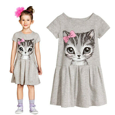 Kids Girls Fashion Summer Short Sleeve Cute Cat Bowknot Dress O-Neck Dress Well