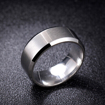 8mm Silver Brushed Bands 316L Stainless Steel Men Women's Wedding Ring Size 5-15