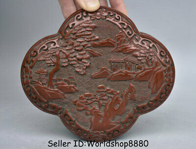 """6"""" Qianlong Marked Old China Red Lacquerware House scenery Dynasty Jewelry box"""