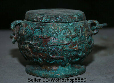 """5.2"""" Antique Old Chinese Bronze Ware Dynasty Beast Portable Pot drinking vessel"""