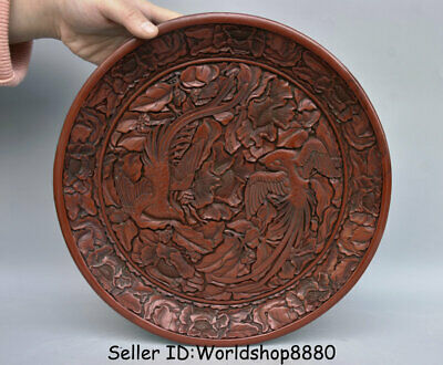 """12"""" Qianlong Marked Old China Red Lacquerware Dynasty Phoenix Birds Flower Plate"""