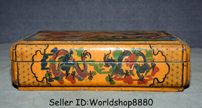 """12"""" Qianlong Marked Old China Lacquerware Painting Dynasty Dragon Storage Box"""