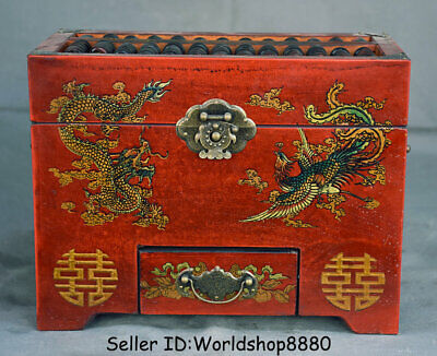 "10.2"" Old Chinese Wood lacquerware Dynasty Dragon Phoenix abacus Jewelry box"