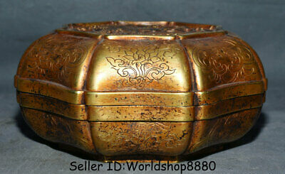 "8.4"" Xuande Marked China Copper 24K Golld Gilt Dynasty Palace Dragon Jewelry box"