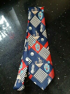 RENE CHAGAL Hand made Vintage SILK Tie  Retro Golf Club print