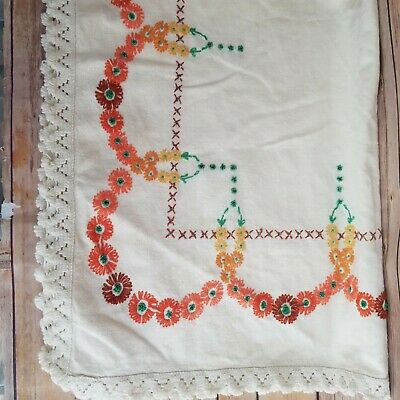 Small Vintage Hand Embroidered Tablecloth Table Topper Orange Floral Lace Edging