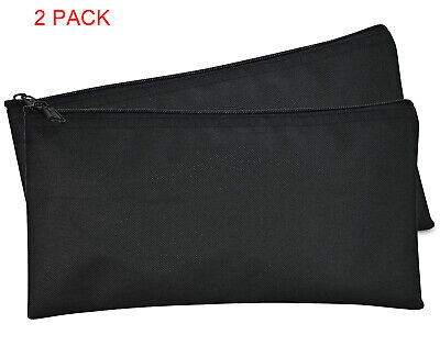 Deposit Bag Bank Pouch Zippered Safe Money CashBag Organizer in BLACK 2 QTY Pack