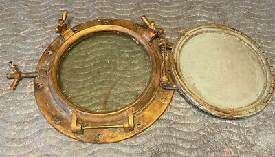 """Antique Brass Ships Porthole With Storm Security Hatch Cover Large 18"""""""