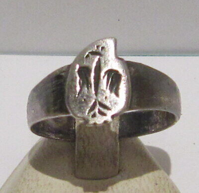 Fantastic Post Medieval Silver Ring With Beautiful Eagle On The Top # 17C