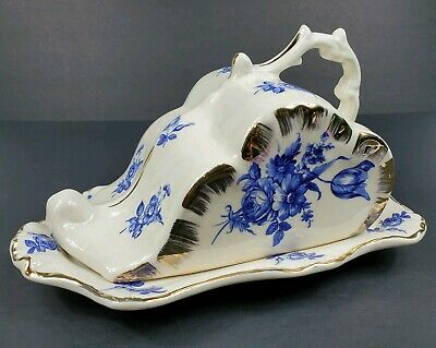 Vintage Staffordshire Ware Ornate Covered Cheese Dish Blue Flowers Gold Accents