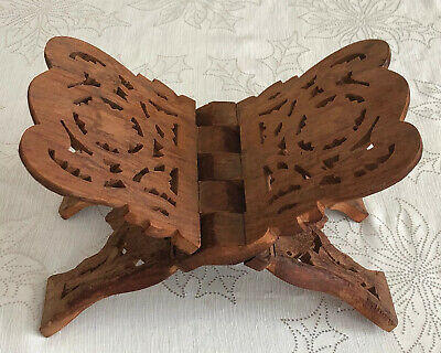 Vintage Portable Folding Book Rack Holder Display Carved Wooden