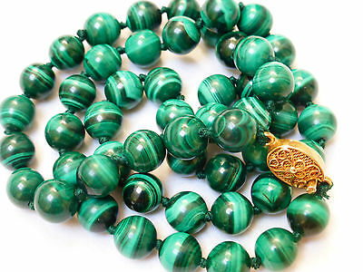 """CHINESE VINTAGE MALACHITE 9mm BEADED NECKLACE, SILVER CLASP, 72grams, 22"""""""