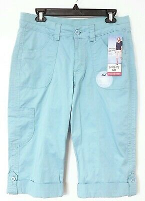 Riders® by Lee™ Aqua Mid-Rise Skimmer Cargo Capri stretch Pants 10 french blue