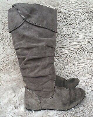GIRLS SONOMA LIFE+STYLE AVIANA GRAY FAUX SUEDE TALL SLOUCH BOOTS SIZE 13