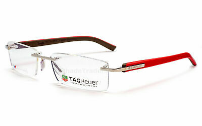 Tag  Heuer TH8109 011 Trends Rimless Optical Eyeglasses Frame Silver Red Brown