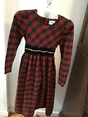 Vintage Rare Editions Girl's Christmas dress red plaid long sleeve size 14.