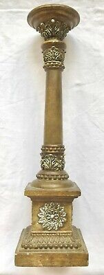 Wooden Candle Holder Stand Rustic Shabby Chic Brown Pillar