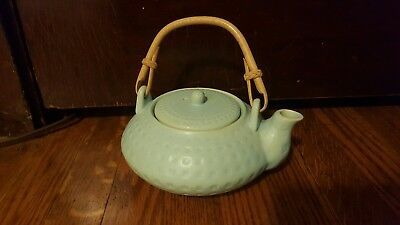 Pier 1 Imports Teal Tea Pot Ceramic Stoneware Wood Handle Light Blue Coffee