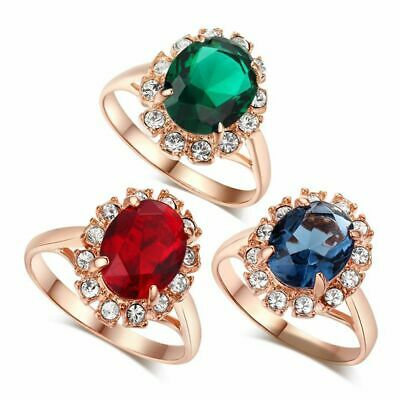 Cubic Zirconia Women Finger Ring Austrian Crystal Emerald Rose Gold Plated