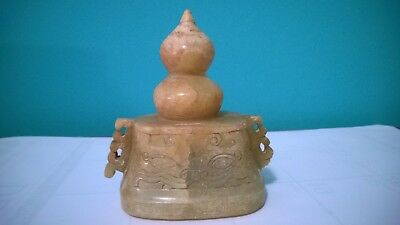 "ANTIQUE  ~ CARVED SOAPSTONE TOP-LID?. Appr. 4 3/8"" High"