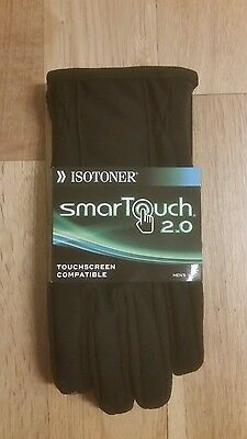 New ISOTONER SmarTouch 2.0 Mens Gloves BLACK Touchscreen Compatible Size Large