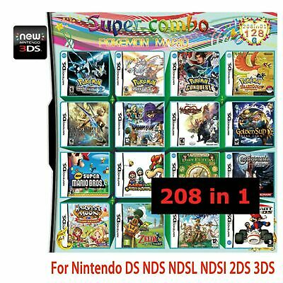1pcs 208 in 1 Multicart Vedio Game Cartridge for DS NDS NDSL NDSI 2DS 3DS 3DS LL