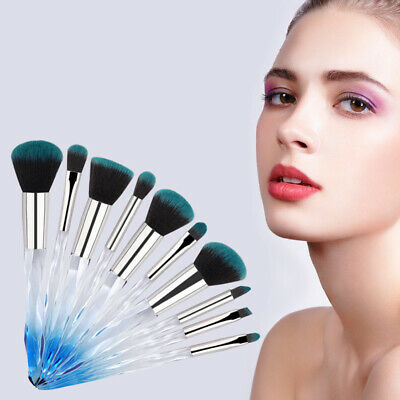10Pcs Unicorn Make Up Brushes Crystal Handle Lip Powder Foundation Purple Hot UK