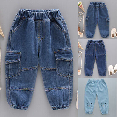 Toddler Kids Boy Girl Elastic Waist Denim Jeans Dungarees Trouser Pants 1-6Years