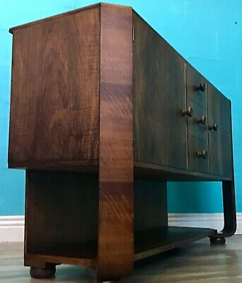 ANTIQUE ART DECO WALNUT SIDEBOARD 1930s