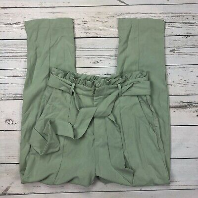 DO + BE Woven High Rise Pants Size Medium Womens Paperbag Waist Y14717 Green