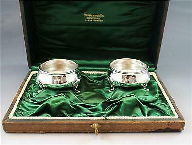 Tiffany & Co Makers Sterling Silver Master Salt Cellars w/ Original Fitted Case