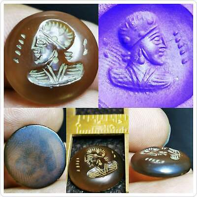 Sassanian Agate king Old Seal stamp intaglio Cabochon  # 93